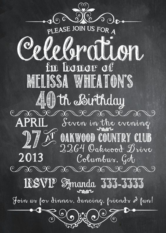 Chalkboard Adult Birthday Party Invitation, 30th, 40th, 50th, 21st ...