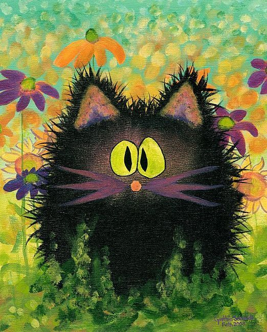 Scaredy Cat in Daisies