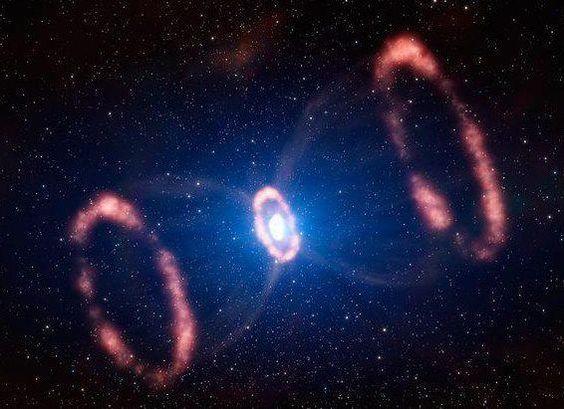 """Supernova SN 1987A. Esta supernova situa-se na Nebulosa da Tarântula na Grande Nuvem de Magalhães, galáxia satélite da Via Láctea. É a mais recente supernova observada, vista da Terra até a olho nu em 1987, por isso da nomenclatura, a letra """"A"""" foi por causa do fato de ser a primeira (e única) supernova vista neste ano. A explosão foi causada por uma estrela do tipo supergigante azul. Situa-se à cerca de 168.000 anos-luz da Terra."""