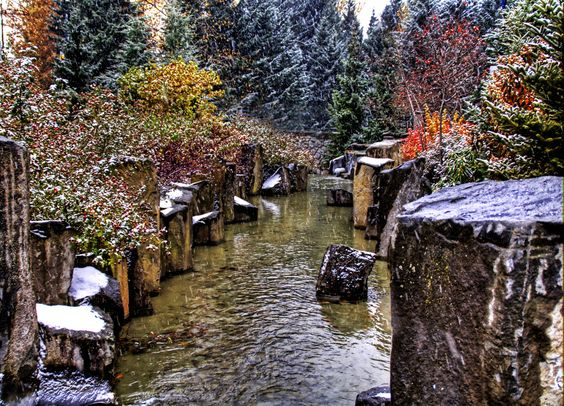 Here is a scenic little snowy creek in Whistler. - Whistler, Canada - Photo from #treyratcliff Trey Ratcliff at http://www.StuckInCustoms.com