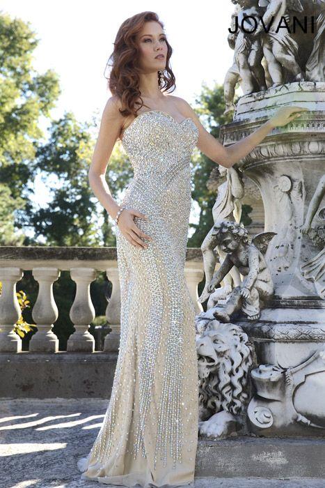 loveee loveee lovee! Jovani 4343 silver nude strapless sequin prom ...