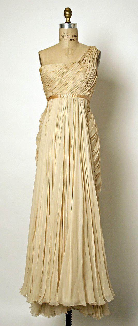 Jean Desses silk evening gown, 1949