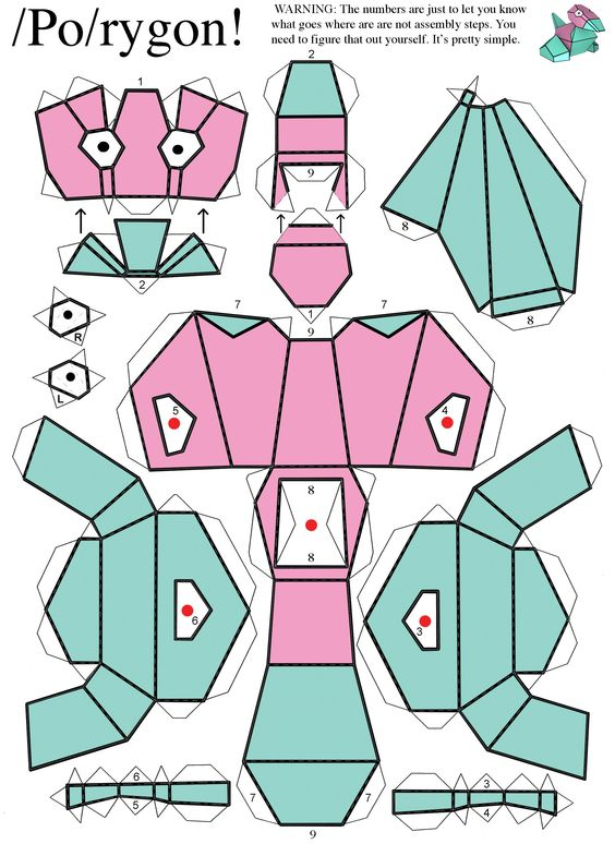 Porygon from pokemon difficulty level easy papercraft pinterest