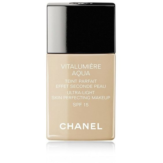 CHANEL VITALUMIÈRE AQUA Ultra-Light Skin Perfective Makeup Instant... ($47) ❤ liked on Polyvore featuring beauty products, makeup, beauty and cosmetics