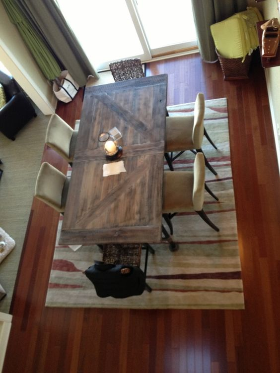 Pub high barn door style table with plumbing pipe legs for Barn style kitchen table