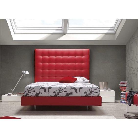 Dormitorio cama tapizada rojo   Crem Rock  Bedroom upholstered red #bed