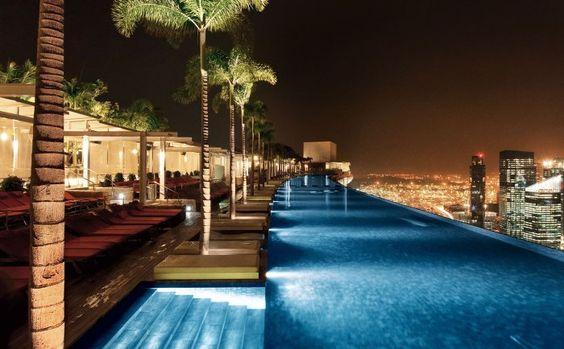 Iluminação de Jardins e Varandas - meia luz piscina hotel