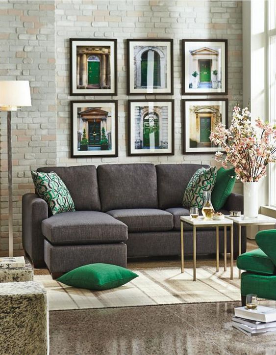 black/charcoal, green and gold / Andrea Sectional Sofa with Chaise at Hudson's Bay