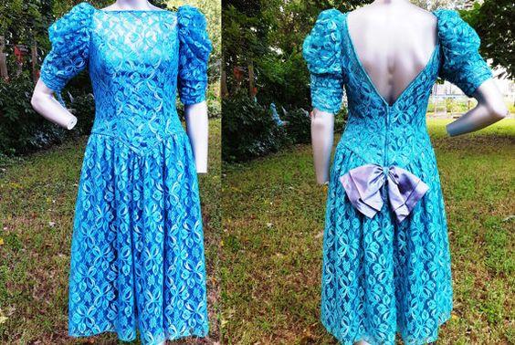 80s Prom Dress in Aqua Lace / Vintage Dress / by gottagovintage1