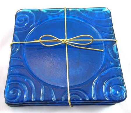 "Art Glass Textured Coasters - Sets of 4  Generous 5""x5"" size! DichroicAdventures.com"