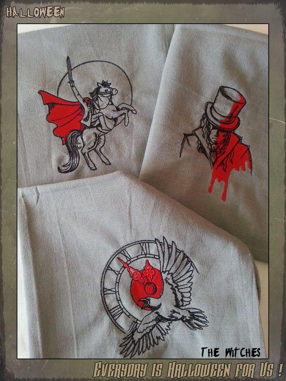 Lot de trois serviettes de table grises, broderies Haunted Tales I  disponible ici : http://www.coffinrock.com/coffinrock/fr/the-witches/1107-serviette-de-cuisine-haunted-tales.html