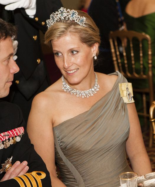 Wherever it came from, the Canadian Aquamarine Tiara has now been worn by the Countess of Wessex. We assume it was a loan from the Queen. It's interesting that this is the tiara she was allowed to wear, since she already has an aquamarine tiara. Sophie's necklace at the 2012 Luxembourg pre-wedding gala dinner was also on loan from the Queen, the King Faisal Necklace. However, Her Majesty loaning things out is a fairly rare occurrence.