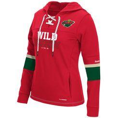 Women's Minnesota Wild Reebok Red PlayWarm Lace-Up Hockey Hoodie