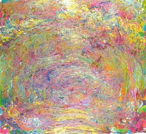 path under the rose trellises claude monet on canvas. Black Bedroom Furniture Sets. Home Design Ideas
