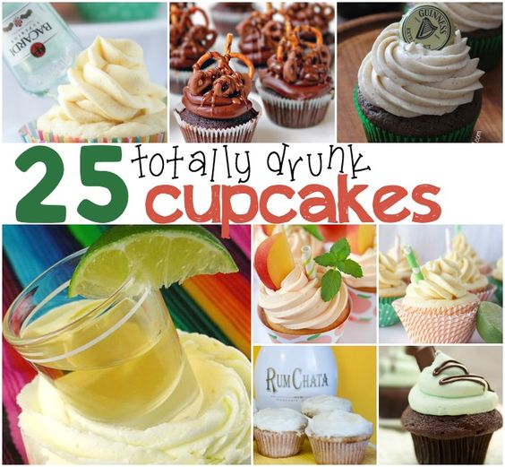 Today I decided to celebrate with these 25 Drunk Cupcakes (or Cupcakes with Alcohol in Them).