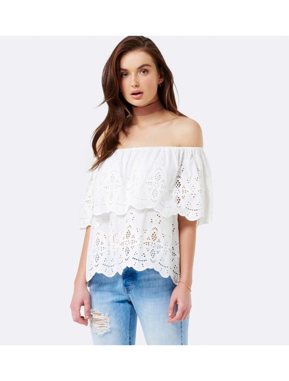 Sherry Embroidery Off Shoulder Top