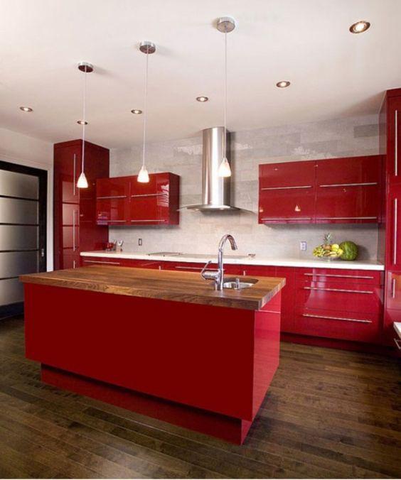 Best Kitchen Islands Designs: Red Kitchen Islands Designs ~ interhomedesigns.com Kitchen Designs Inspiration