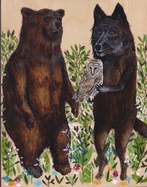 """Unlikely travel companions by Drew Mosley Acrylic Ink on Panel 8 x 10"""" 2013"""