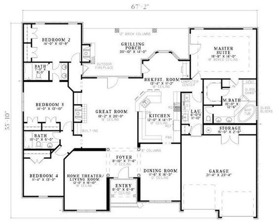 Floor plans  Open floor plans and Open floor on PinterestI love this floor plan  The split bedrooms  outdoor fireplace  open floor plan