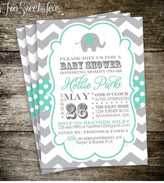 Gianna S Pink And Gray Elephant Nursery Reveal: Elephant Baby Shower Invitation Chevron Gray Pink Blue