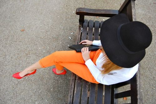 come october, i would love to wear this festive combination - orange, white, and black!