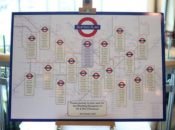 London Underground themed wedding table plan. http://www.toptableplanner.com/blog/london-underground-wedding-table-plan
