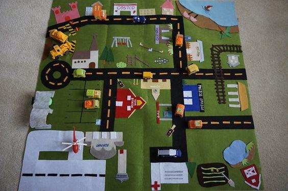 Mat-Stadt Fold Up Play Mat/Roll-Up Play von IvyHandmadeDesign