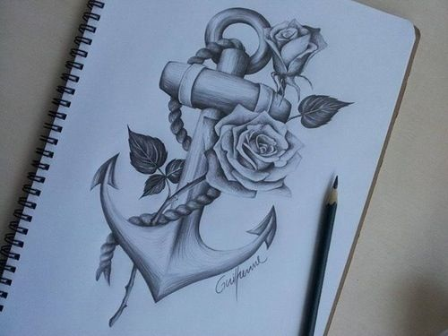 rose anchor drawing a