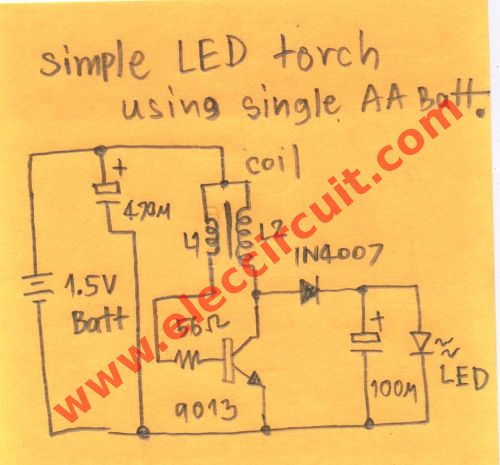 1 5v Led Torch Circuit Or Flashlight Eleccircuit Com Circuit Led Electronics Circuit