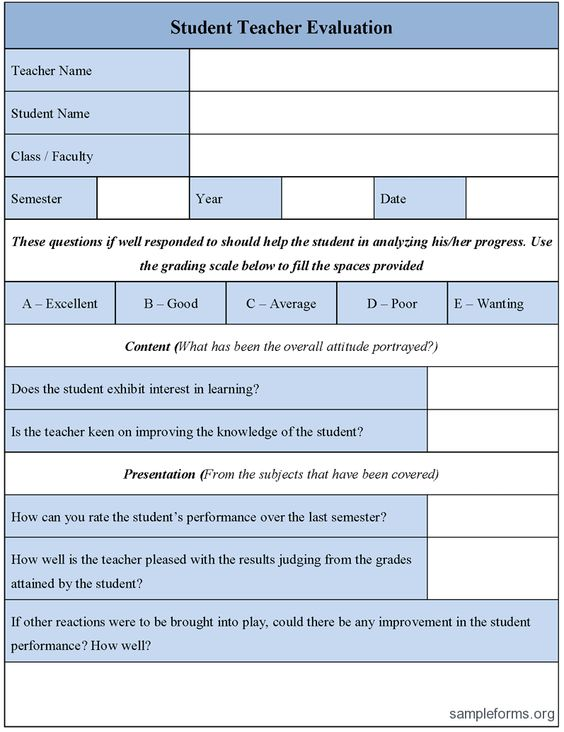 Student Teacher Evaluation Form | Good Science | Pinterest