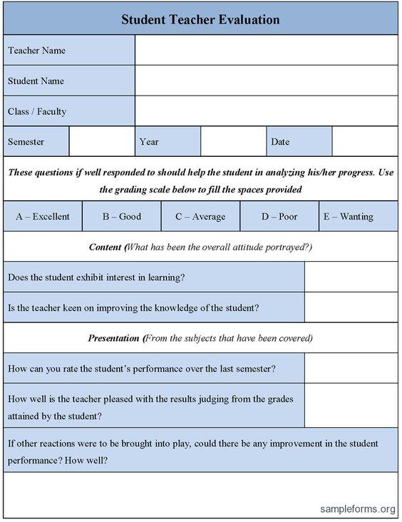 Student Teacher Evaluation Form  Good Science