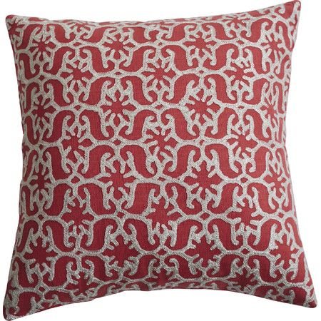 Bring a bright pop of pattern to your sofa or favorite reading nook with this cotton pillow, featuring an embroidered scrolling motif.  P...