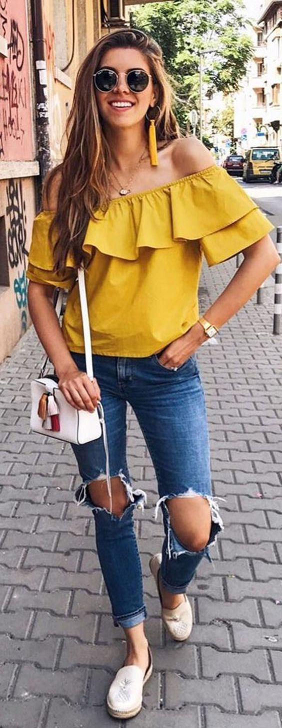 Blusa ombro a ombro amarela