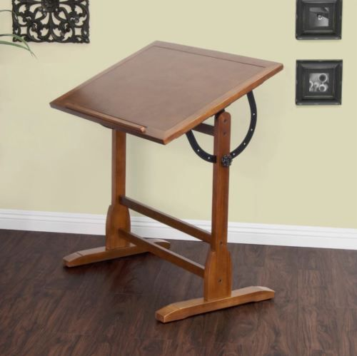 Professional Drafting Table With Parallel Bar Adjustable Antique