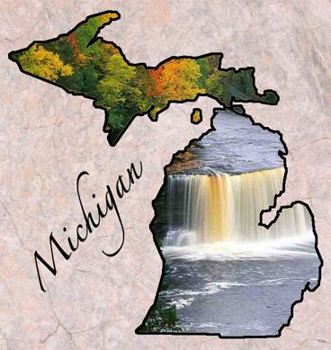 "Michigan - Origin of Name: Based on Chippewa Indian word ""meicigama"" meaning ""great water""   (the Great Lakes)"