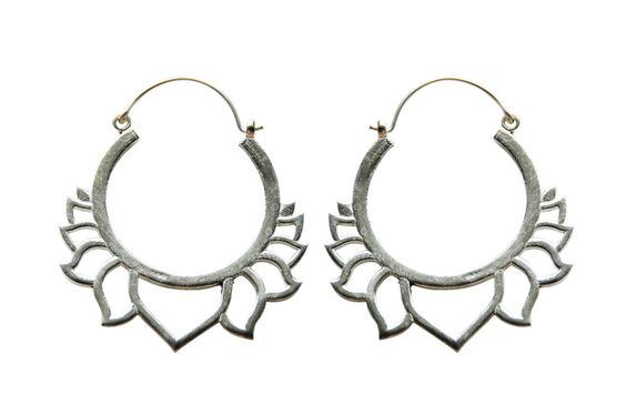 Lotus Hoop earrings- Silver -  Brass earrings-  Yoga jewelry - Carved earrings- Hoop earrings by tribal jewelry wholesale
