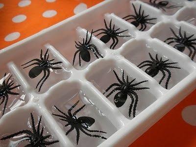 Forminhas de gelo com aranhas de plástico: