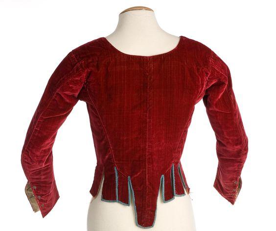 Imatex - red velvet jacket, bound in blue.