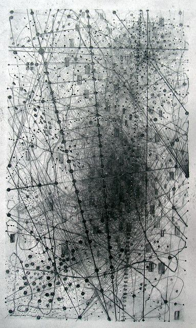 Emma Mcnally's Abstract Map Drawings.  London based artist Emma Mcnally makes abstract graphite drawings that look like city grids and star maps. But this description doesn't come close to doing them justice. Usually large in scale, the drawings emit a wizened, emotive quality. Somehow, each miniscule mark of graphite takes on endless personality. In the end, the works are just as effective as maps of life's random chaos as they are as any type of reference to formal cartography.