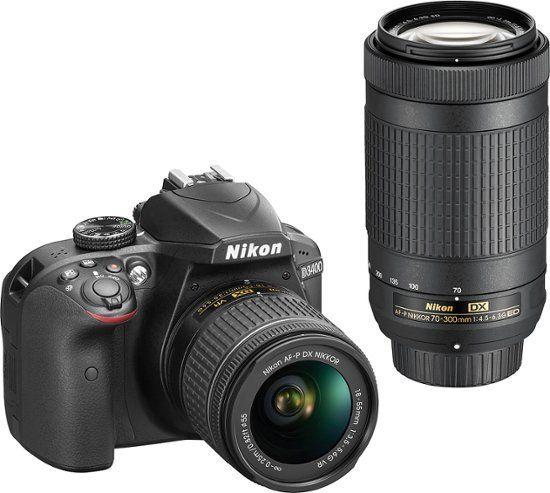 Nikon D3400 Dslr Camera With Af P Dx 18 55mm G Vr And 70 300mm G Ed Lenses Black 1573 Best Buy Dslr Camera Dslr Photography Nikon Dslr