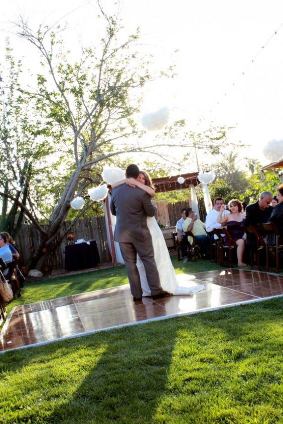 Backyard weddings dance floors and backyards on pinterest for Wedding dance floor size