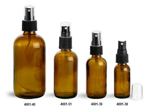 Glass Bottles, Amber Glass Boston Rounds w/ Black Ribbed Fine Mist Sprayers