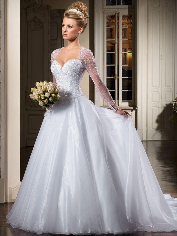 2013 New Sexy Vestidos De Noivas Renda Sweetheart A Line Beads Sequins Crystals White Organza Long Sleeves Wedding Dresses