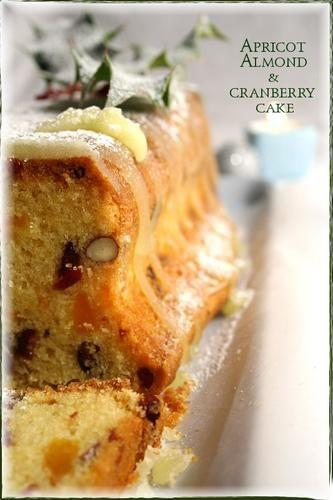 Cake de Noêl aux abricots, cranberries et amandes / Apricot almond & cranberry christmas cake - La popotte de Manue