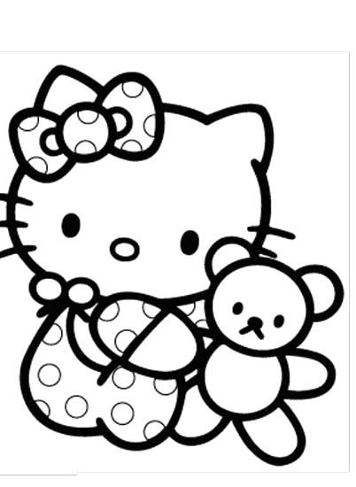 Hello Kitty Dear Daniel Coloring Pages : Hello kitty is very dear to her doll coloring page