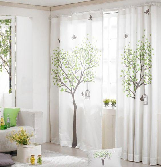 Window Curtains White Linen Cotton Window Panel Drape Curtain ...