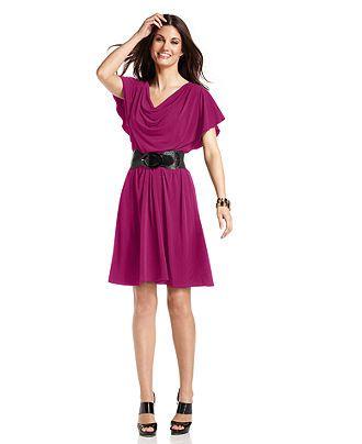 AGB Dress, Flutter-Sleeve Belted A-Line - Dresses - Women - Macy's
