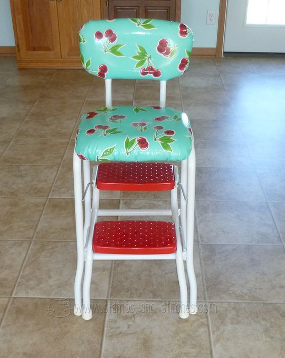 Stamps and Stitches retro kitchen stool makeover