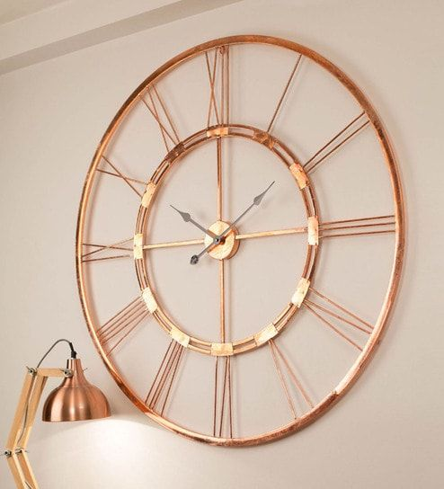 Copper Finish Metal 20 Inch Wall Clock By Craftter Large Wall