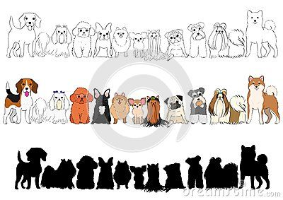 Set Of Small Dogs Hand Drawn Borders Line Art And With Colors And Silhouette Hand Drawn Borders Dog Paintings How To Draw Hands